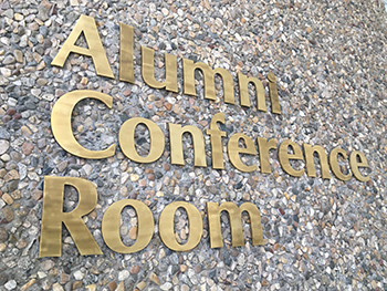 alumni conference room sign